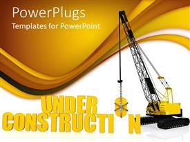 PowerPoint template displaying caution under construction  crane carrying an object  yellow and white background