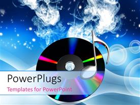 PowerPlugs: PowerPoint template with a cd of music with smoke in the background