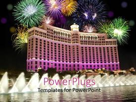 PowerPoint template displaying celebration on the beautiful building in Les Vegas