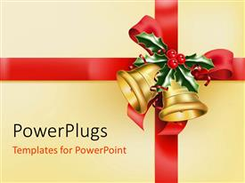 PowerPoint template displaying the celebration Christmas with bells and wrapping material