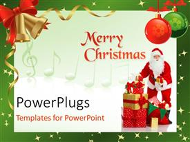 PowerPlugs: PowerPoint template with the celebration of Christmas with white background and a Santa