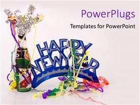 PowerPoint enhanced with celebration happy new year party decorations fun on white background