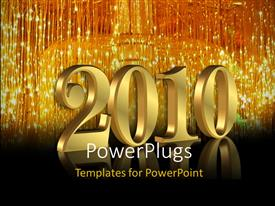 PowerPoint template displaying the celebration of the new year 2010