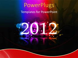 PowerPlugs: PowerPoint template with the celebration of new year 2012 with multicolored background