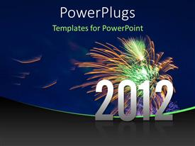 PowerPlugs: PowerPoint template with the celebration of the new year with fireworks in the background