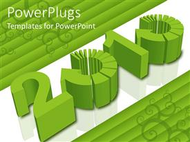 PowerPlugs: PowerPoint template with the celebration of the new year in a greenish way