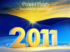 PowerPlugs: PowerPoint template with the celebration of new year with mountains in the background