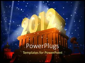 PowerPlugs: PowerPoint template with the celebration of the year 2012 with lights in the background