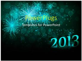 PowerPlugs: PowerPoint template with the celebration of the year 2013 and fireworks in the background