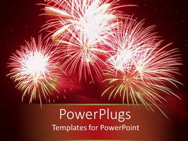 PowerPlugs: PowerPoint template with celebratory red fireworks in night sky