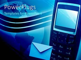 PowerPlugs: PowerPoint template with a cell phone with a globe in the background and place for text