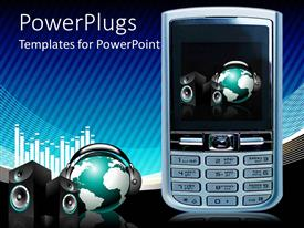 PowerPoint template displaying a cell phone with a globe and headphones