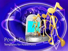 PowerPlugs: PowerPoint template with a cell phone playing music tunes