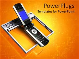 PowerPlugs: PowerPoint template with a cellphone with a digital yellowish background