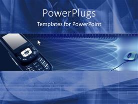 PowerPoint template displaying cellular phone with blue background and computer mouse, technology, communications