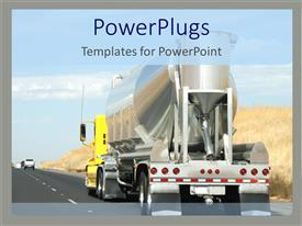 PowerPlugs: PowerPoint template with cement mixer truck driving down highway, construction