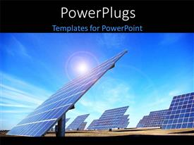 PowerPlugs: PowerPoint template with central of photovoltaic panels at south of Portugal with sky
