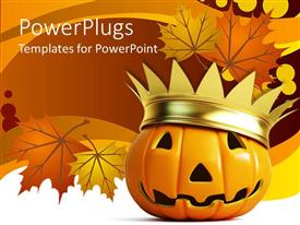 PowerPlugs: PowerPoint template with ceramic jack-o-lantern with gold crown with background of brown and yellow autumn leaves