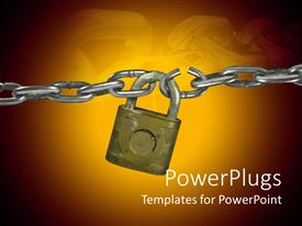 PowerPlugs: PowerPoint template with a chain being locked with the help of a lock