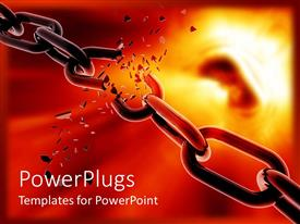PowerPlugs: PowerPoint template with a chain is breaking on fire showing every goal can be achieved with consistent input