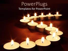 PowerPlugs: PowerPoint template with chain of lit votive candles with flames, spa, religion, memorial
