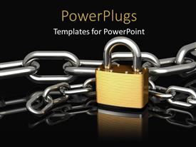 PowerPlugs: PowerPoint template with a chain with a lock and blackish background