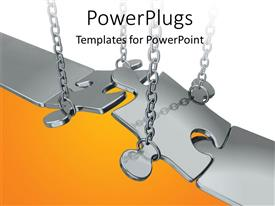 PowerPlugs: PowerPoint template with chain putting chrome jigsaw puzzle pieces in place as bridge