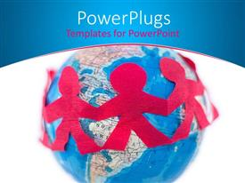 PowerPoint template displaying chain of red people cutouts around a globe