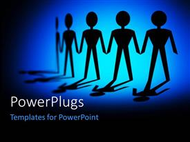 PowerPlugs: PowerPoint template with a chain of a team of paper cut characters on a blue background