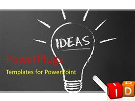 PowerPlugs: PowerPoint template with chalkboard blackboard with chalk and light bulb with ideas 3D colorful cubes with idea