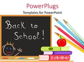 PowerPoint template displaying chalkboard with red apple on pile of books with pencils
