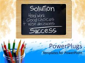 PowerPlugs: PowerPoint template with chalkboard with writing next to colored pencils in pencil holder