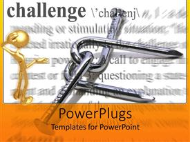 PowerPoint template displaying challenge metaphor with gold man studying bent nails, dictionary definition background