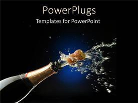 PowerPlugs: PowerPoint template with champagne bottle for celebration party graduation success black background