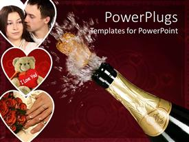 PowerPoint template displaying champagne cork flying from bottle next to depictions of man kissing woman, teddy bear, and pair hands by roses bouquet