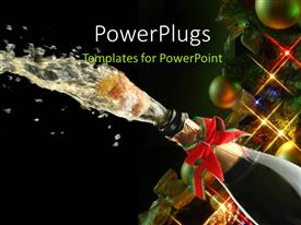 PowerPlugs: PowerPoint template with champagne splash, bottle and cork with Christmas decoration with christmas balls and lights