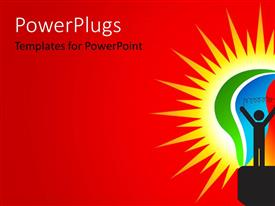 PowerPlugs: PowerPoint template with a character on a bright red and yellow colored background