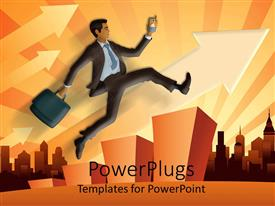 PowerPlugs: PowerPoint template with a character of a business man jumping over a bar chart