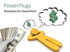 PowerPlugs: PowerPoint template with a character lying down and thinking of money and a hand holding some dollar bills