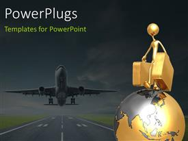 PowerPlugs: PowerPoint template with a character standing on an earth globe with his luggage and an airplane