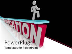 PowerPlugs: PowerPoint template with a character on a text which spell out the word 'Education'