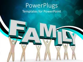 PowerPoint template displaying some characters holding up a 3D text that spells out the word
