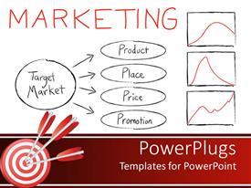 PowerPlugs: PowerPoint template with chart with four marketing strategies, with three graphs and three red darts
