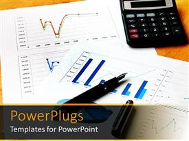 PowerPlugs: PowerPoint template with chart and graph files with a pen and calculator
