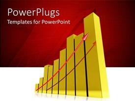 PowerPoint template displaying a chart with a reddish background