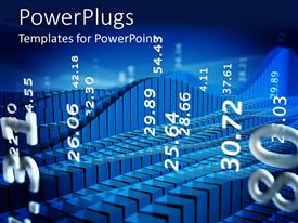 PowerPlugs: PowerPoint template with chart of stock market with abstract numbers on blue background