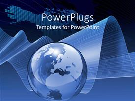 PowerPlugs: PowerPoint template with charts of data and globe sphere world on blue background