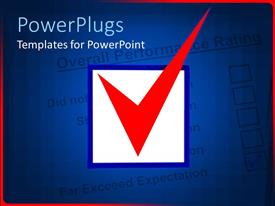 PowerPoint template displaying checkbox with white background blue margins and a red tick inside it on test paper background