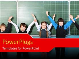PowerPlugs: PowerPoint template with cute little kids raise hands in classroom with chalkboard in background