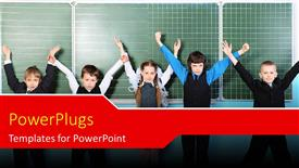 PowerPoint template displaying cute little kids raise hands in classroom with chalkboard in background